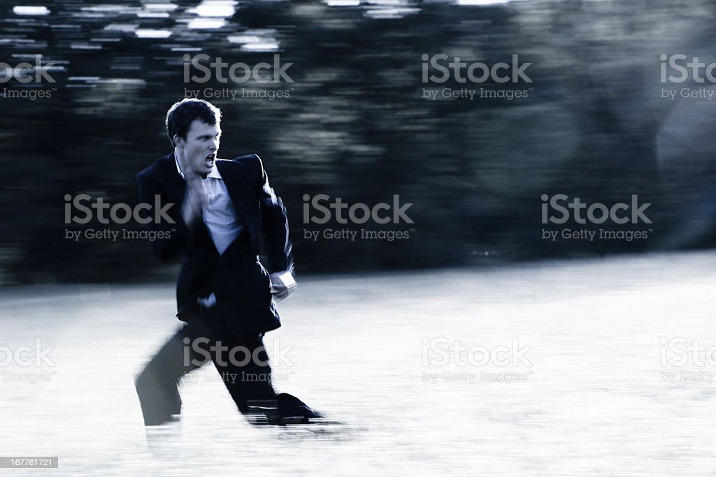 Banker on the run stock photo