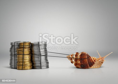 Banking concept snail pulling money with copy space