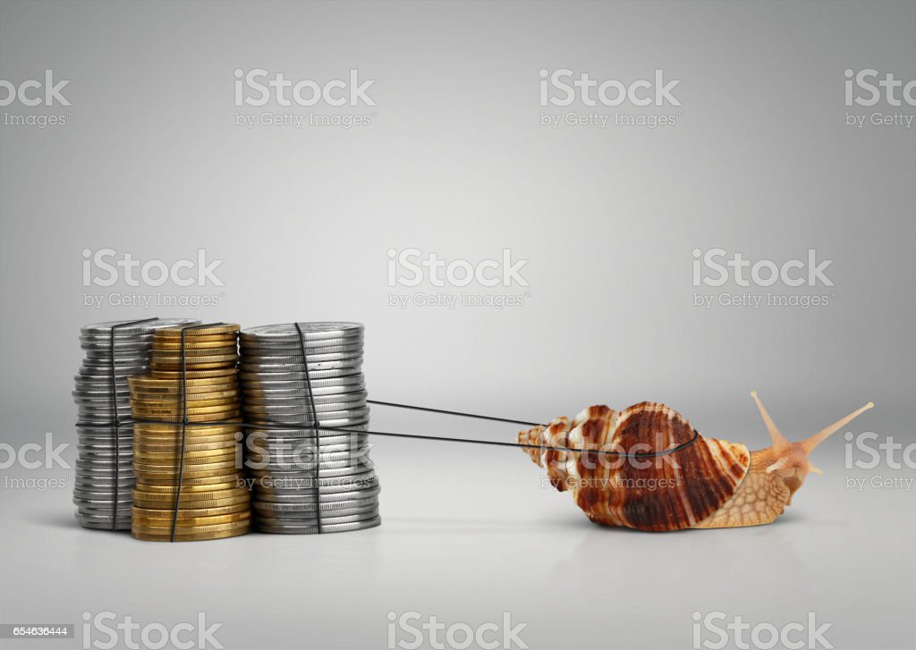 Banking concept snail pulling money with copy space stock photo