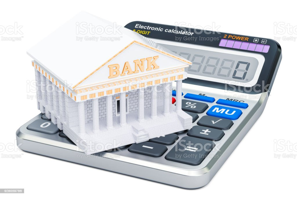 Banking concept with calculator, 3D rendering isolated on white background stock photo