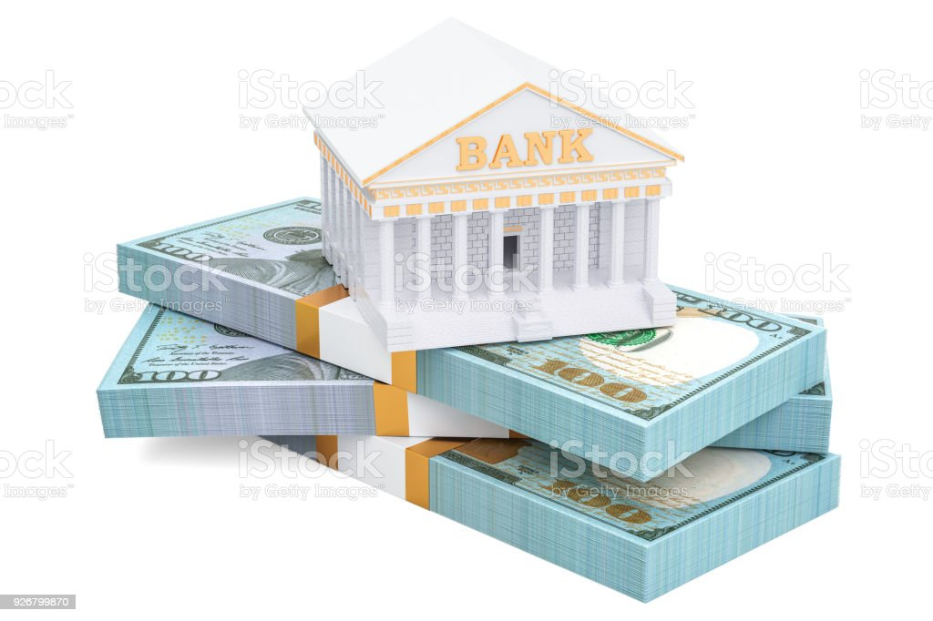 Banking concept with dollar packs, 3D rendering isolated on white background stock photo