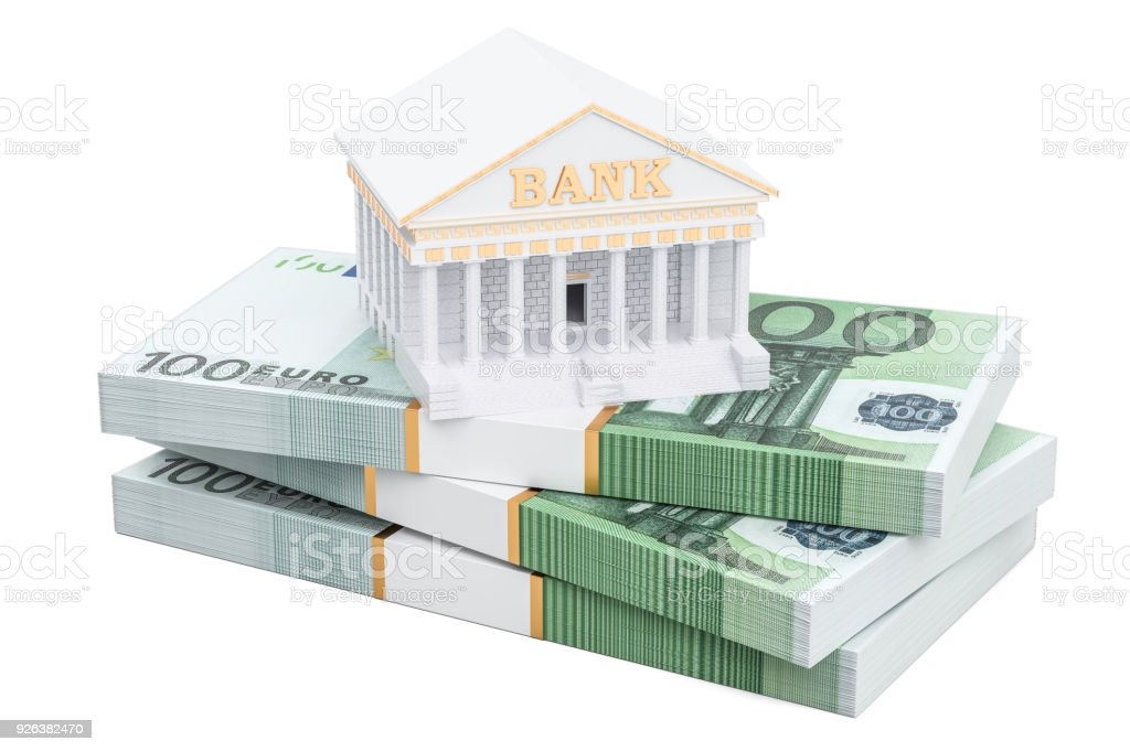 Banking concept with euro packs, 3D rendering isolated on white background stock photo