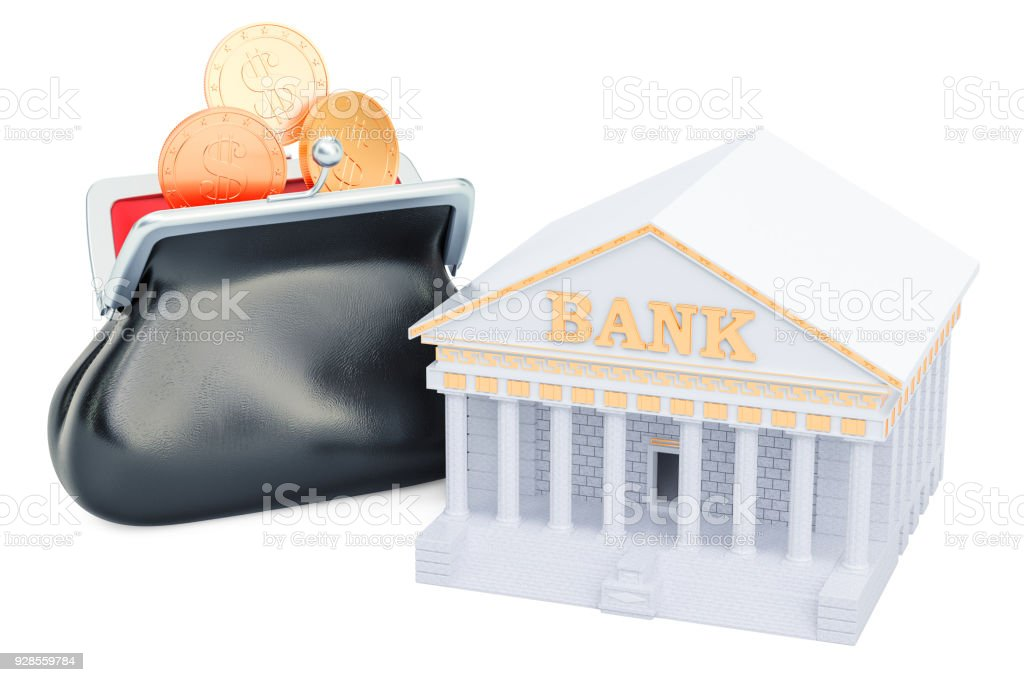 Banking concept with purse full of golden coins, 3D rendering  isolated on white background stock photo