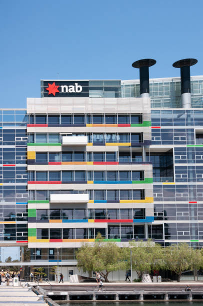 NAB banking in Modern colorful architecture at Docklands in Melbourne, Australia. stock photo