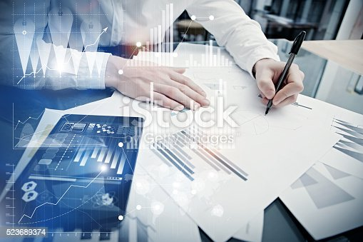 533699494istockphoto Banking manager working process.Concept photo trader work market report 523689374