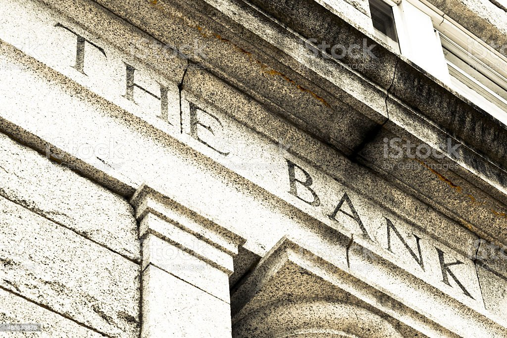 Banking on stone stock photo