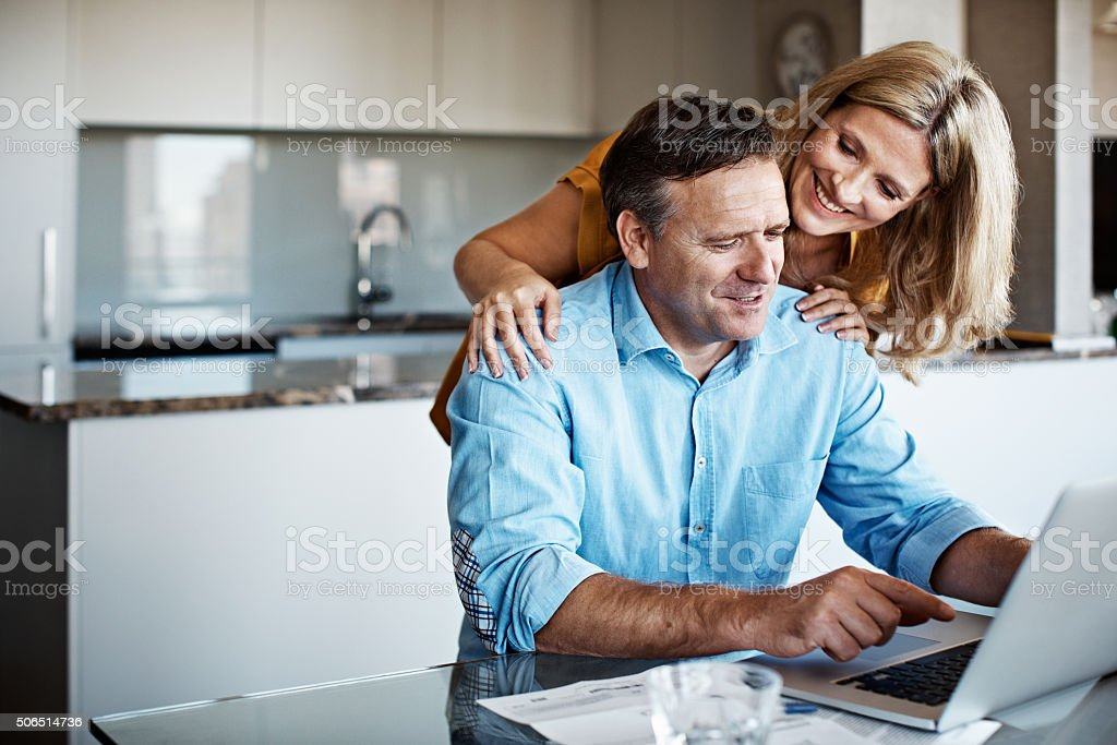 Banking online is pretty simple, isn't it? stock photo