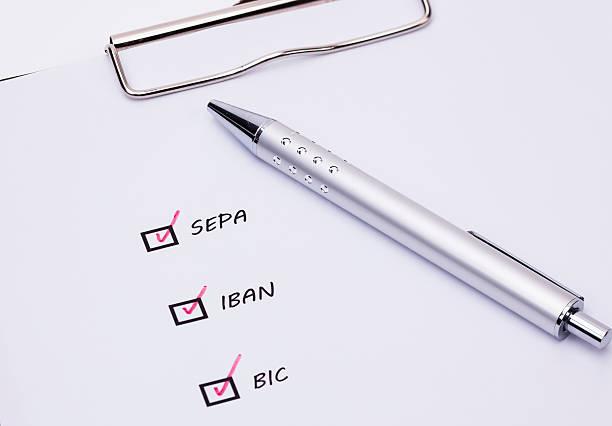 sepa-banking - bic kugelschreiber stock-fotos und bilder