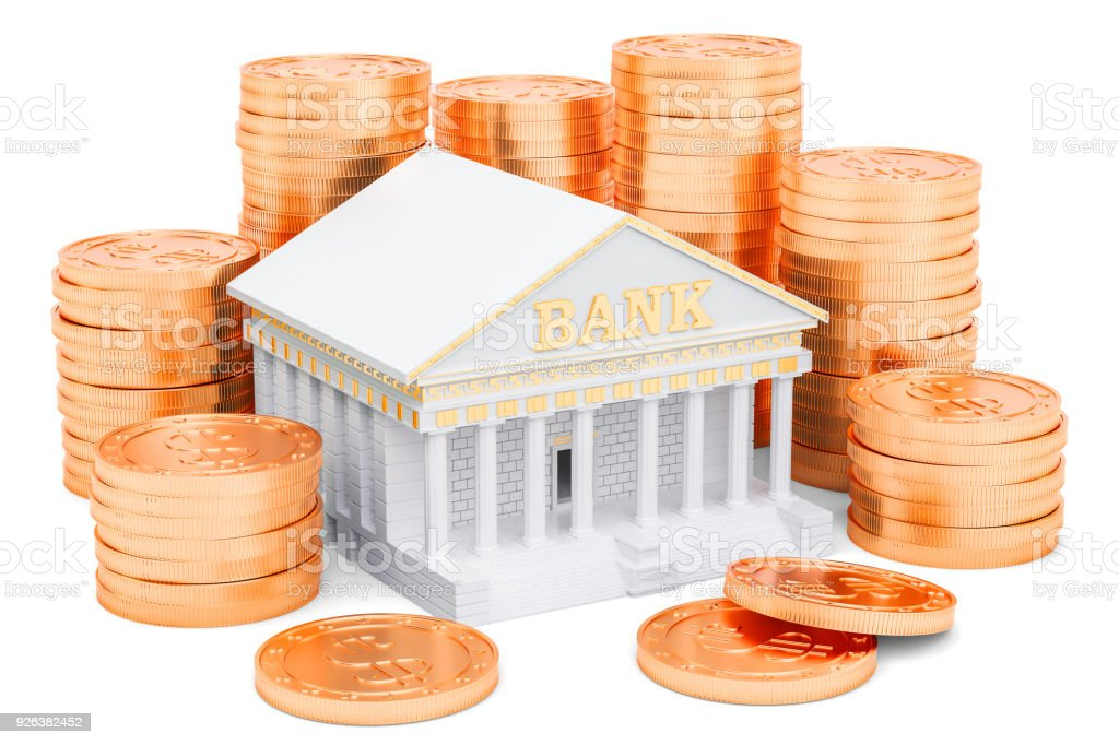 Banking service concept, golden coins around bank. 3D rendering stock photo