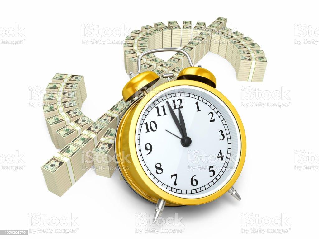 $20 Banknote and Alarm clock stock photo