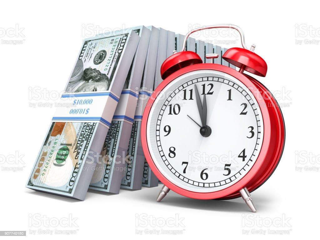 $100 Banknote and Alarm clock stock photo
