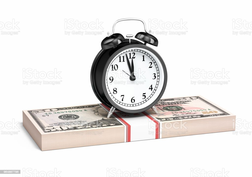 $50 Banknote and Alarm clock royalty-free stock photo