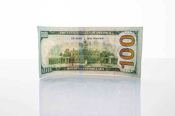 banknote hundred dollars on the mirror surface - watermark stock photos and pictures
