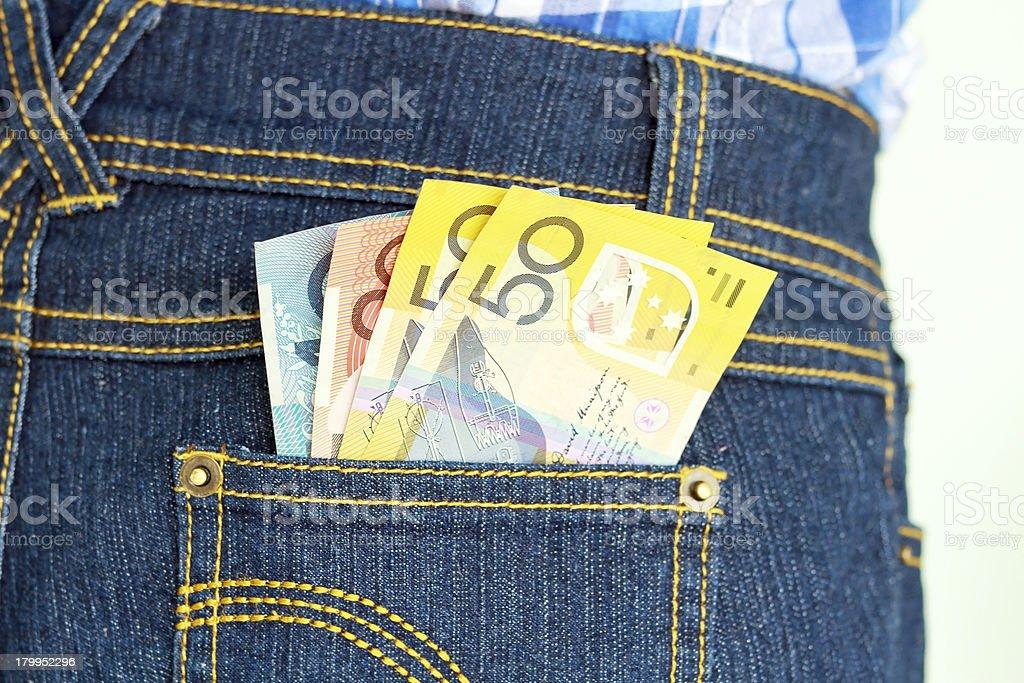 Banknote in pocket stock photo