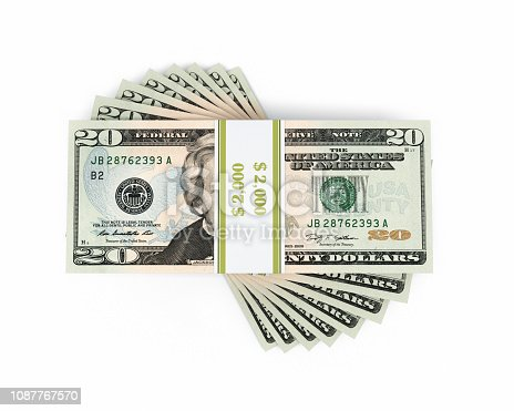 3d render New $20 banknote (isolated on white and clipping path)