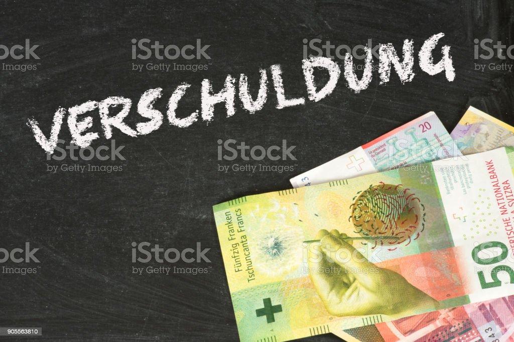 Banknoten Schweizer Franken und die Verschuldung stock photo