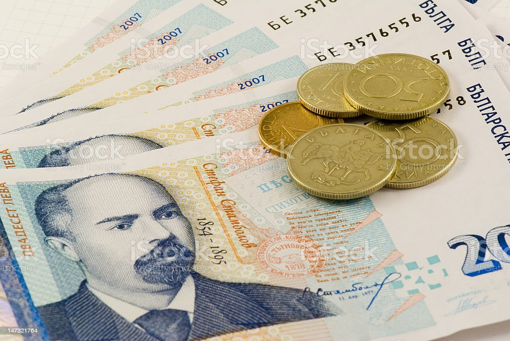 Banknotes and coins 1 stock photo