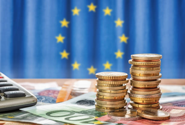 Banknotes and coins in front of the flag of the European Union Banknotes and coins in front of the flag of the European Union european union currency stock pictures, royalty-free photos & images