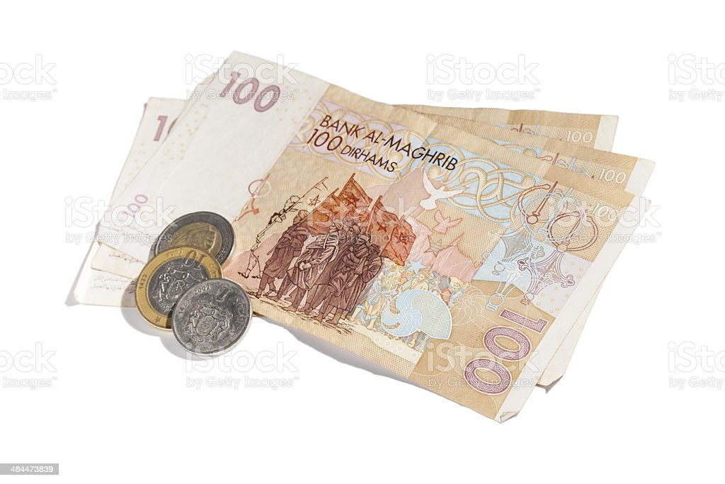 Banknotes and coins. Moroccan money isolated on white stock photo