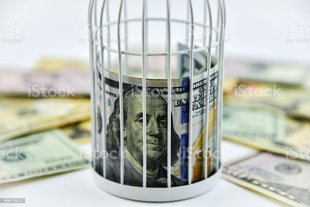 Banknotes behind the bars royalty-free stock photo
