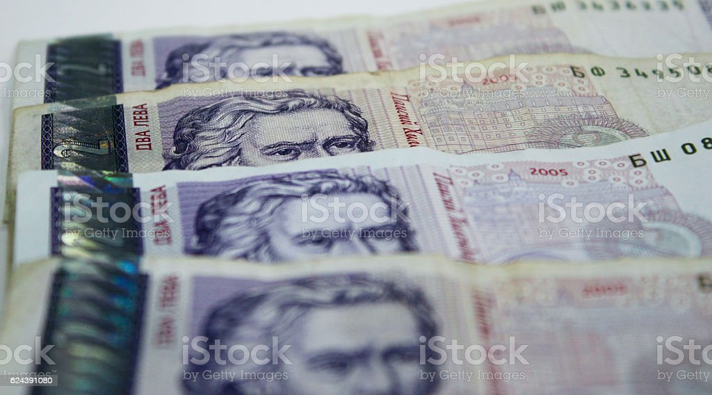 Banknotes eyes, the Bulgarian currency stock photo