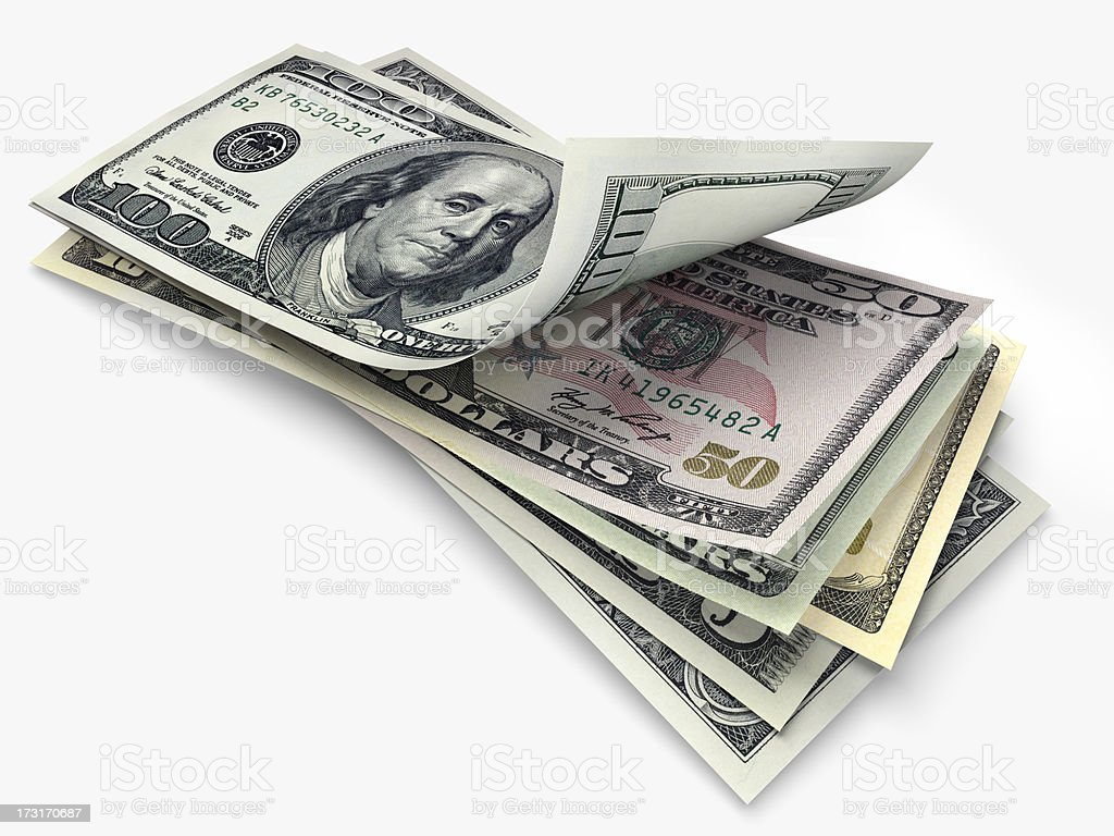 US banknotes in different denominations royalty-free stock photo