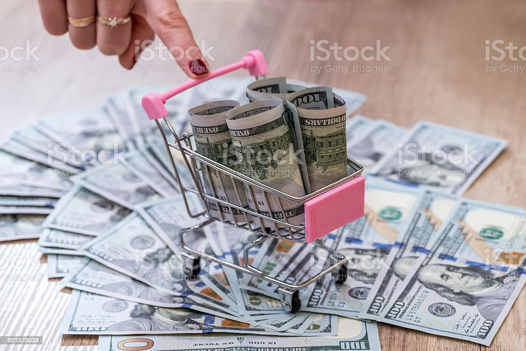 banknotes in the shoping cart photo libre de droits