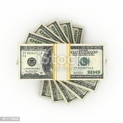 istock $100 Banknotes - Isolated on White Background 871779550