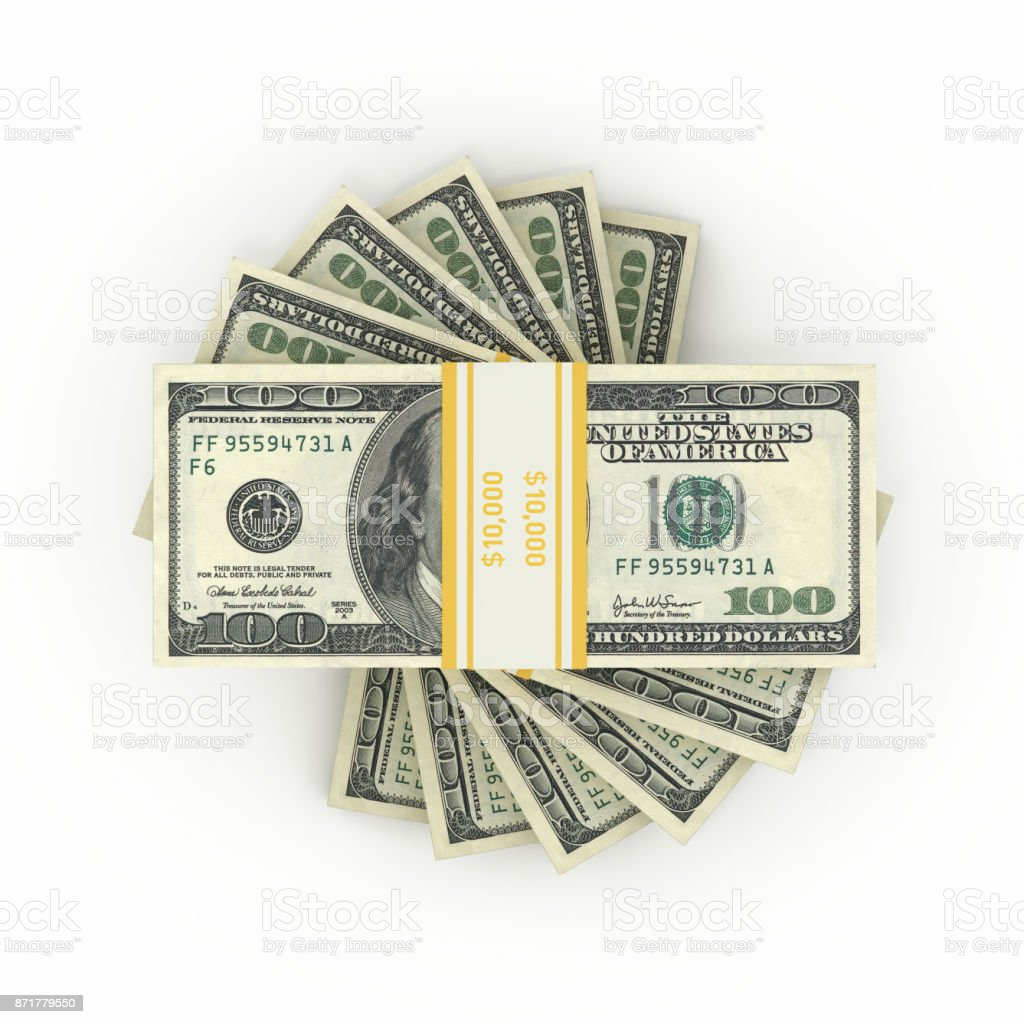 $100 Banknotes - Isolated on White Background stock photo