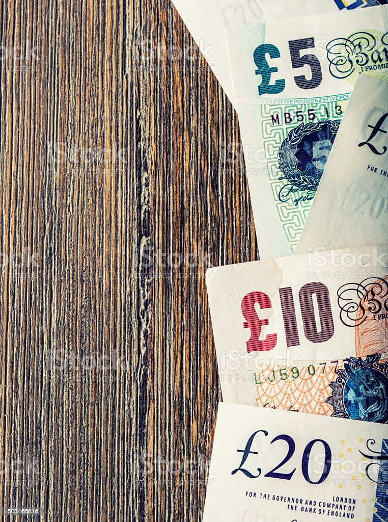 UK banknotes of different values stacked on each other stock photo