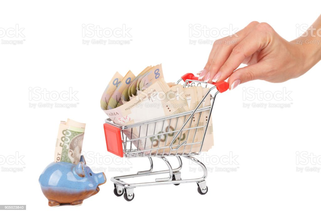 Banknotes of five hundred hryvnias in the shopping cart, isolated stock photo