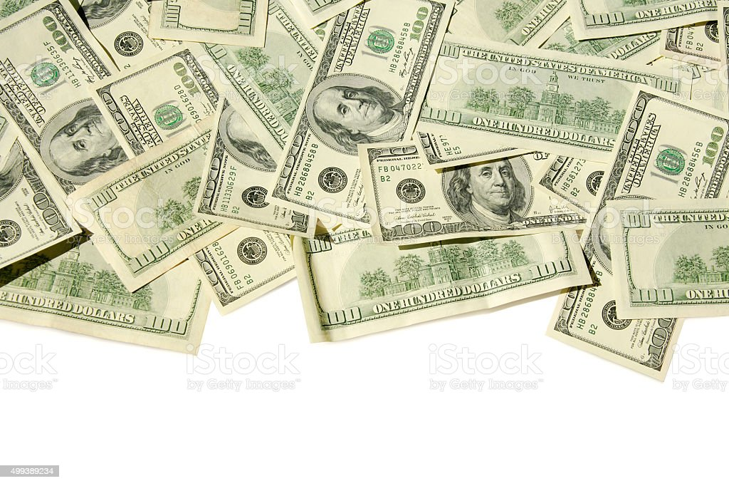 $100 banknotes (Clipping Path) stock photo