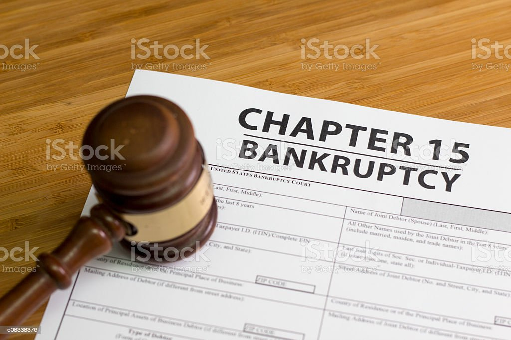 Bankruptcy Chapter 15 stock photo