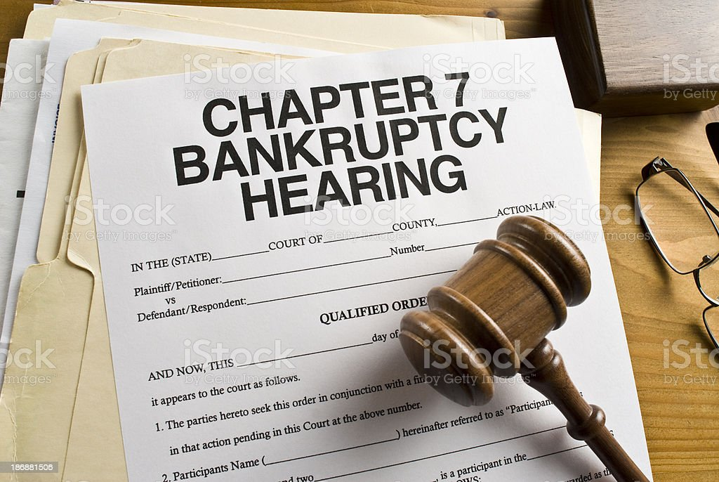 Bankruptcy Chapter 7 Paperwork stock photo