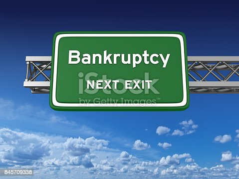 istock Bankruptcy Concept Highway Sign 845709338