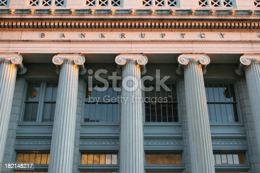 Bankruptcy Court. Dayton, Ohio. Greek Revival Architecture. The word BANKRUPTCY is visible just above the columns.