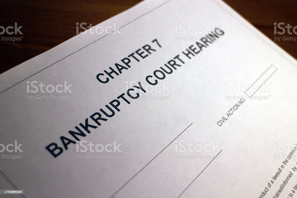 Bankruptcy Court Hearing Document stock photo