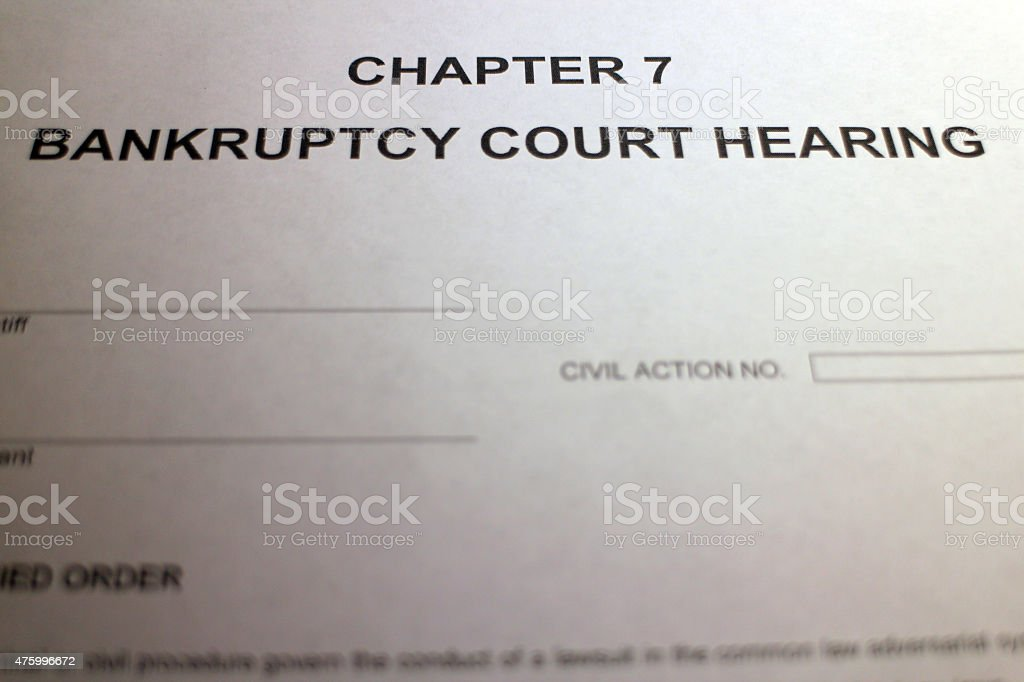 Bankruptcy Court Hearing Form stock photo