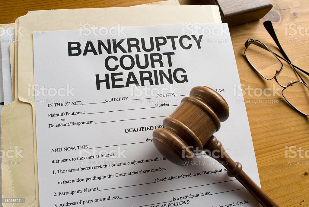 Bankruptcy Court Hearing paperwork stock photo