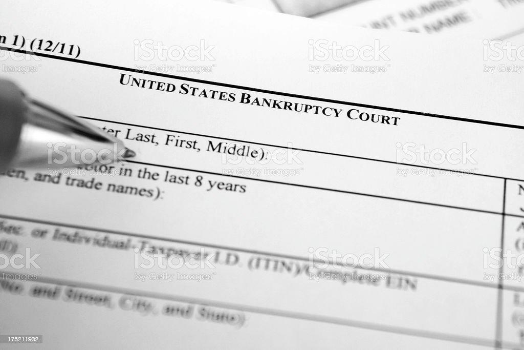 Bankruptcy filing stock photo