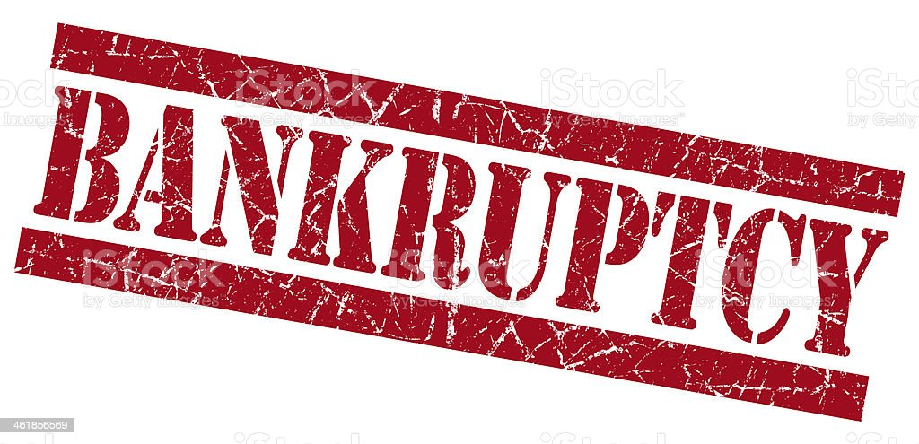 Bankruptcy grunge red stamp stock photo