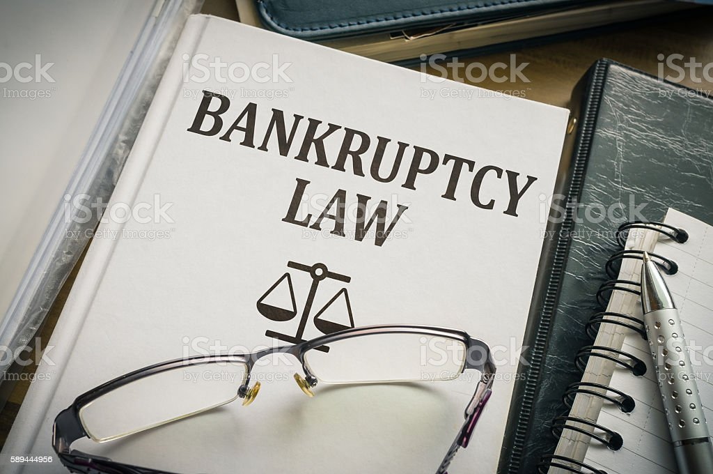 Bankruptcy law book. Legislation and justice concept. stock photo
