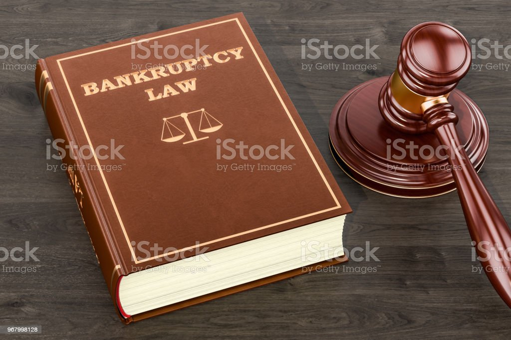 Bankruptcy law concept, 3D rendering stock photo
