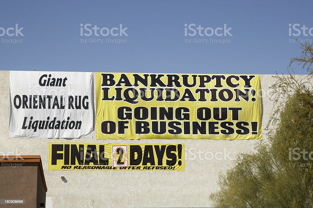 Bankruptcy liquidation sign stock photo