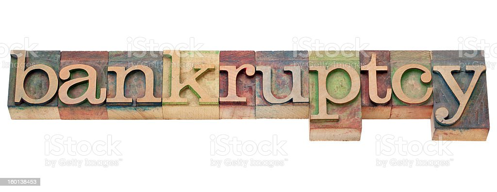 bankruptcy word in letterpress type stock photo