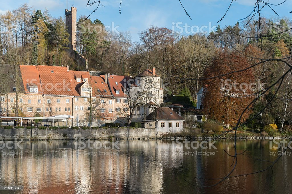 Banks and historic Buildings at river Lech in Landsberg stock photo