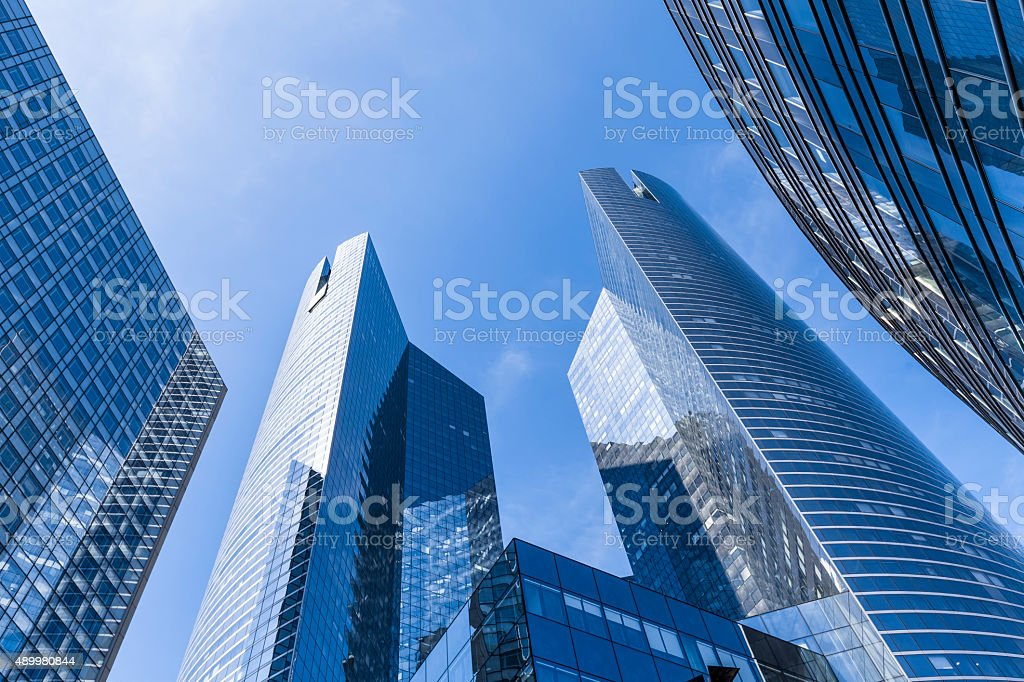 Banks and office buildings in business district stock photo
