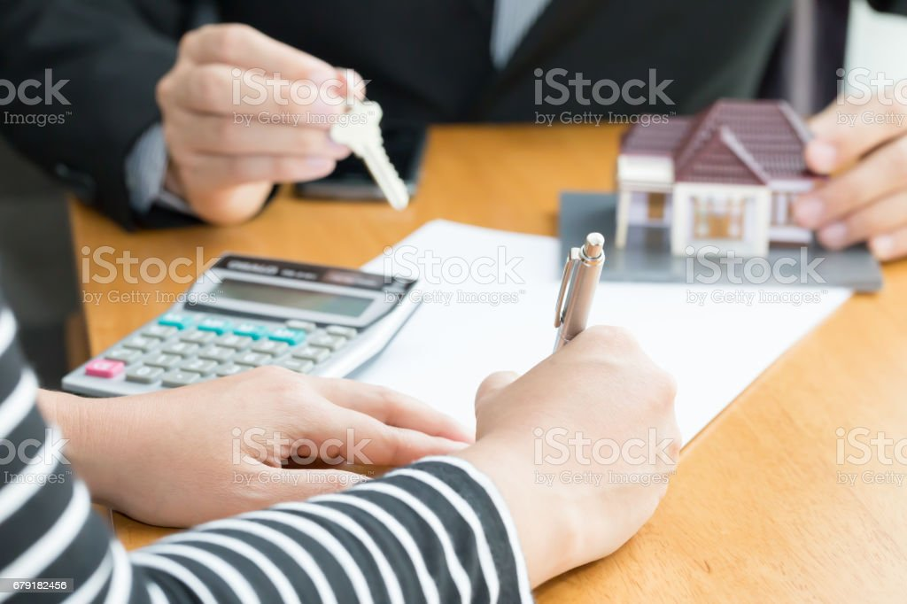 Banks approve loans to buy homes. Sell house concept stock photo