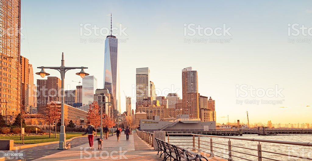 Banks of Hudson River and Freedom Tower stock photo