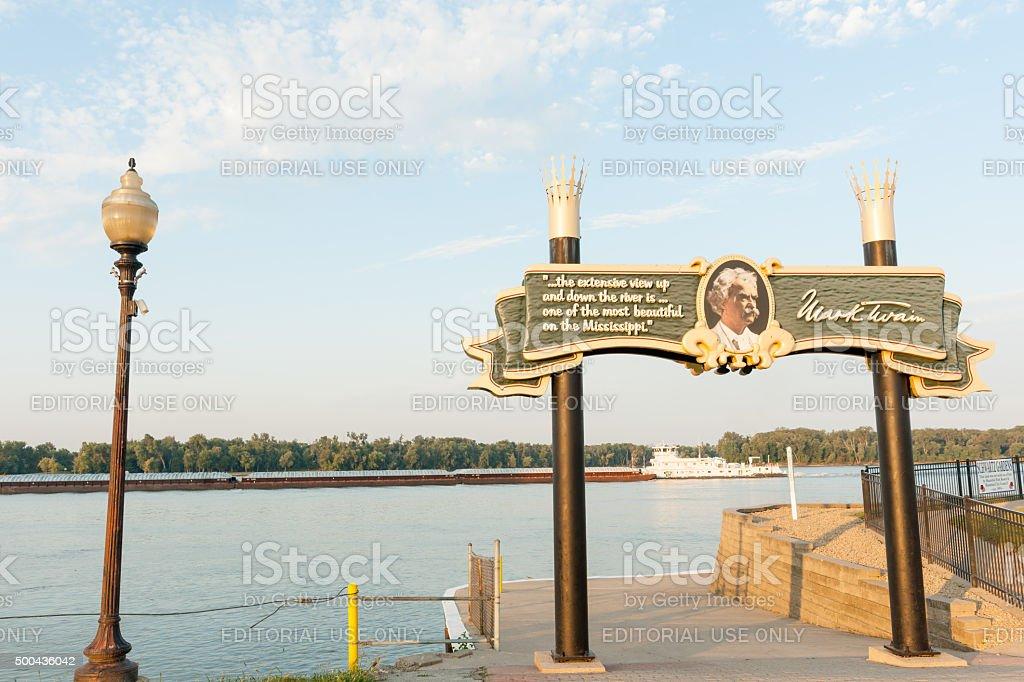 Banks of Mississippi Mark Twain sign Hannibal Missouri USA stock photo